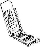 SIM-Card Holder , with PostDimensions: 29.60L x - 6-Pin, shaft up/down/horizontal