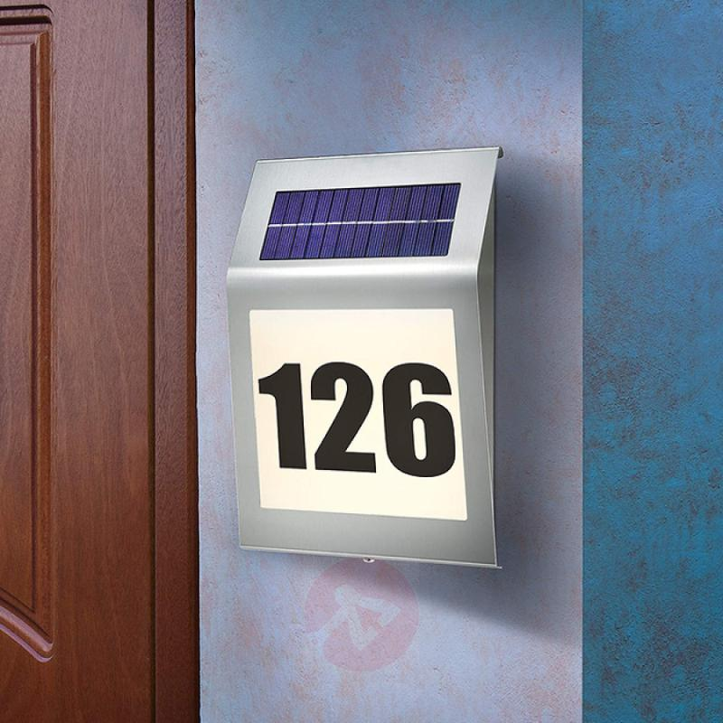 LED house number light Style with solar module - stainless-steel-outdoor-wall-lights