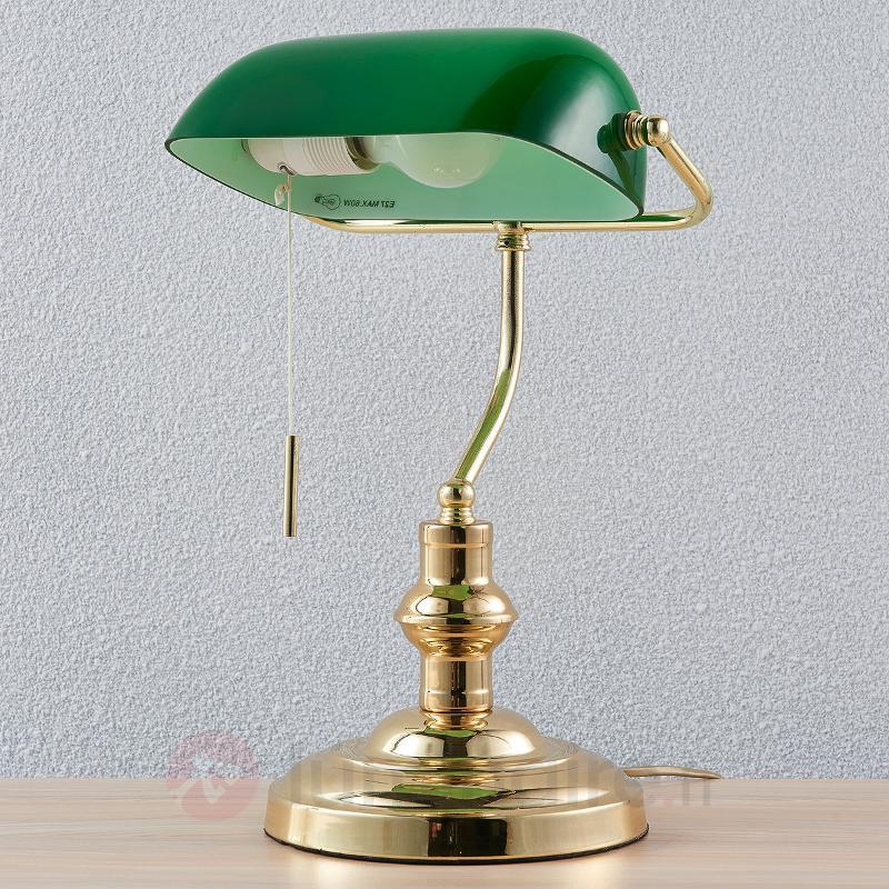 Lampe Banker Milenka, laiton poli - Lampes de bureau
