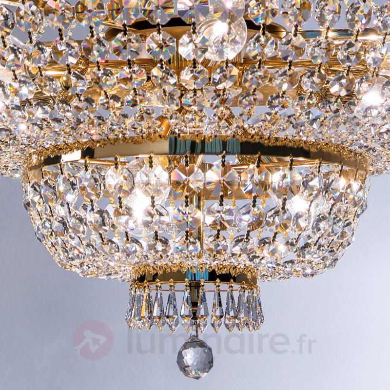 Magnifique lustre cristal Sheraton doré - Lustres en cristal
