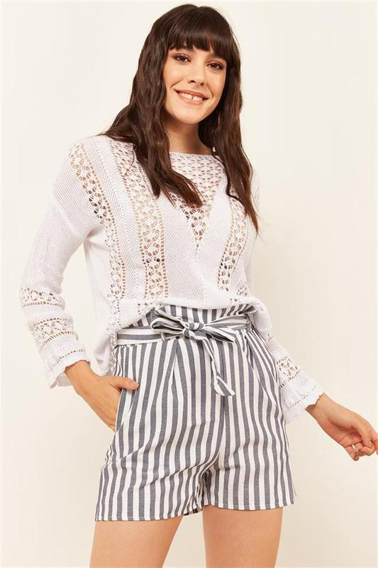 Women's Gray Stripe Shorts - Women's Shorts