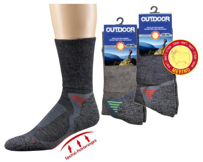 Funktions Trekking-Socken mit Merinowolle - null