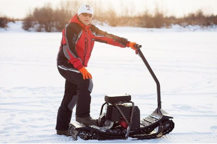"Motorized snowboard ""Monotrack"" - Lightweight folding all-terrain moto snowboard ""Monotrack"""
