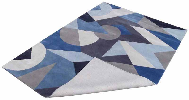 Hand Tufted Rugs; Latexed back with cotton cloth backing - NT-003, Modern design, Blue/ Red, Wool Rugs and Carpets