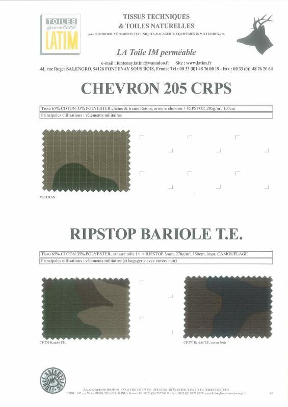 CHEVRON 205 CRPS & RIPSTOP BARIOLE T.E - Toiles naturelles