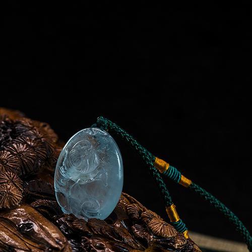 Natural aquamarine tallado piezas en forma de loto -