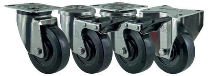 Ditherm RHT - Heat resistant wheels and castors in elastic rubber, resistance -40°C +260°C