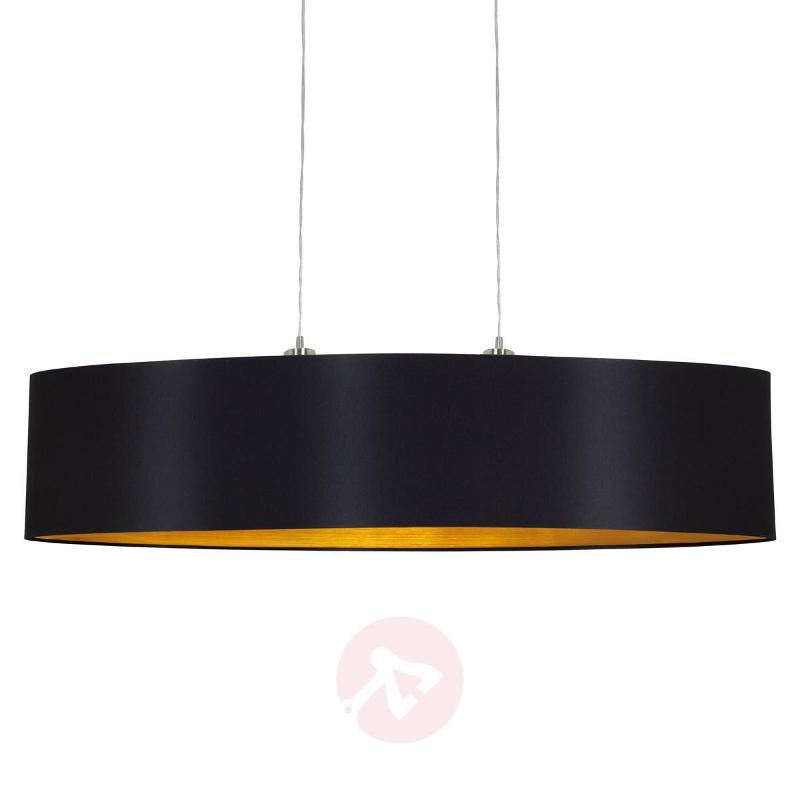 Stylish Lecio fabric hanging light, gold-black - Pendant Lighting