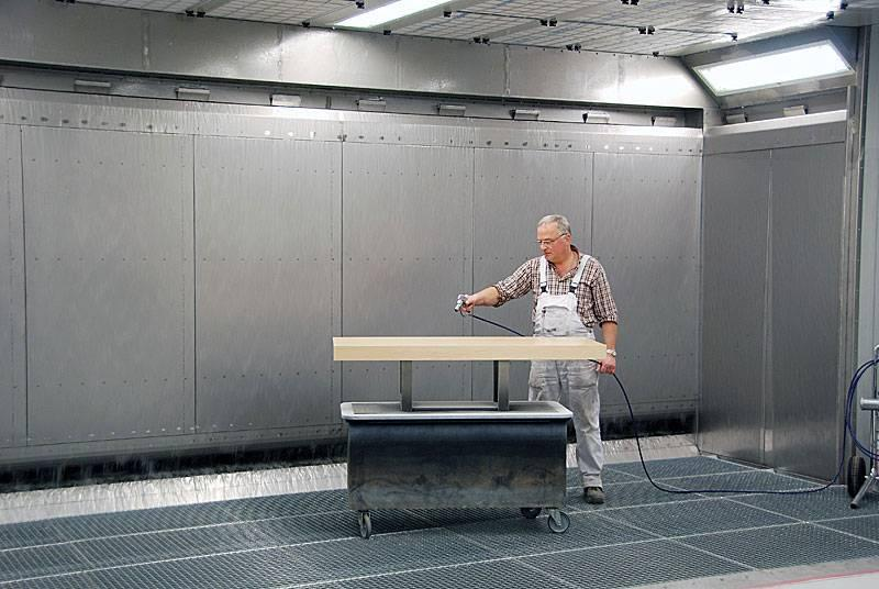 Water-sprinkled spray booth type RWS - wet-painting