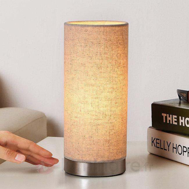 Lampe à poser en tissu de couleur crème Ronja - Lampes à poser en tissu