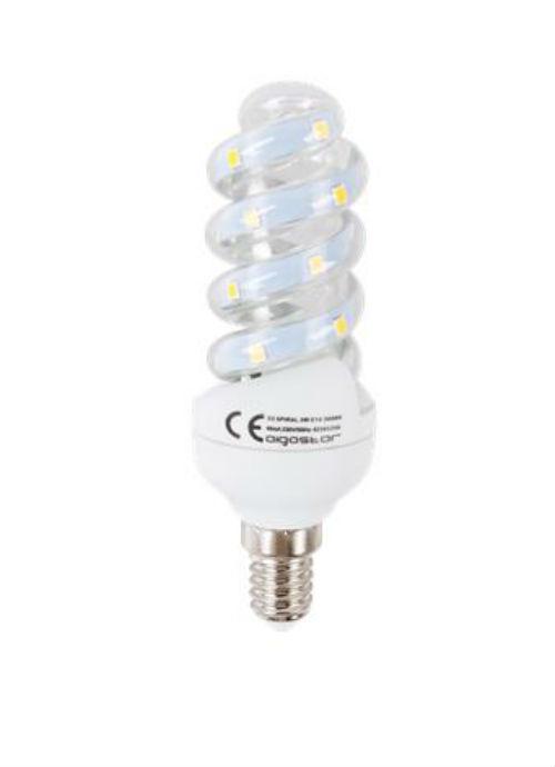 Lampadine LED a spirale E14 - 5W trasparente 3000/6400K 450/490lm