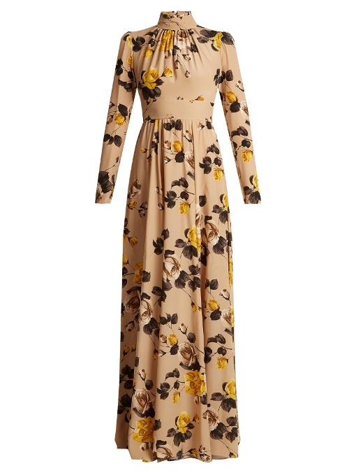 Printed Silk crepe de Chine gown  - Silk Garment Manufacturers in India