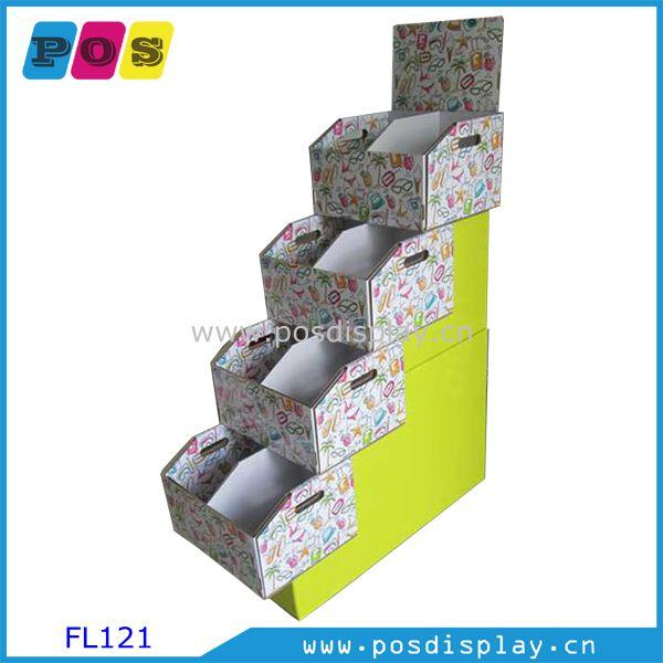 cardboard merchandising display stand - floor display stand with 4 foldable trays and base can used as shipper