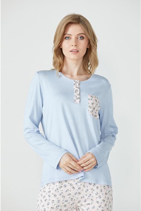 Women's Pocket Detailed Patterned Pyjamas Set -