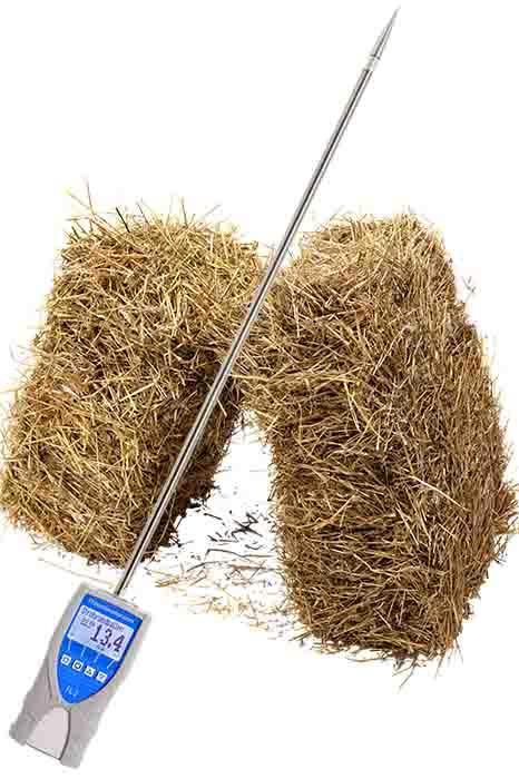 Professional hay und straw moisture meter - with robust 0.6 meter stainless steel probe