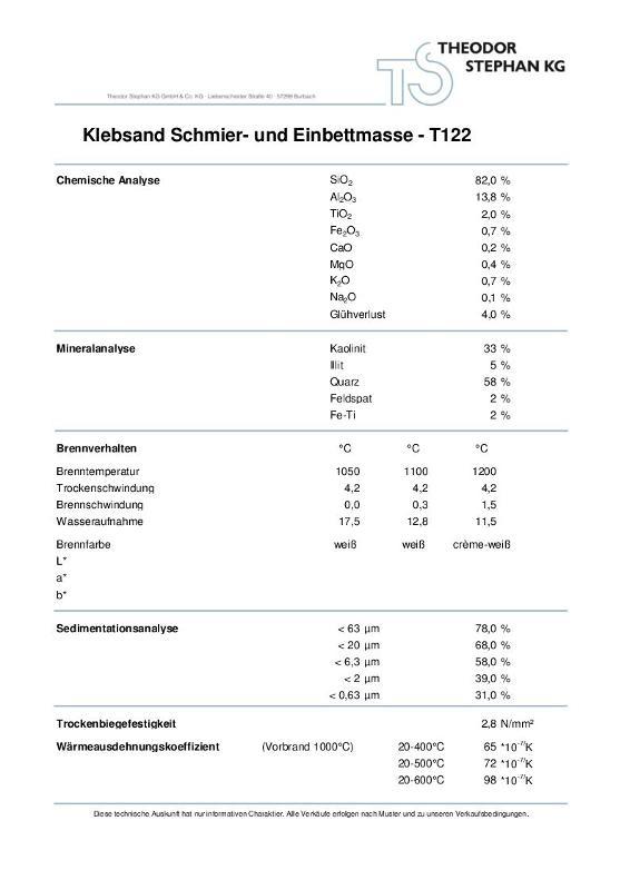 Klebsand Schmier- und Einbettmasse T122 - null
