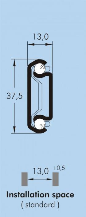 ITS 012 Partial extension drawer slide 70 kg - 37,5 x 13 mm telescopic slide hot-dip galvanized steel length 200 - 750 mm
