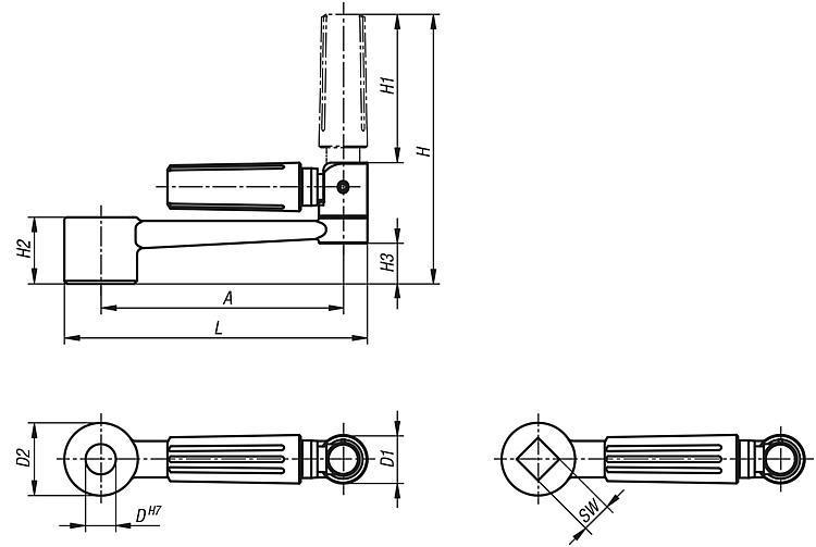 Manivelle en aluminium avec poignée cylindrique escamotable - Volants, manivelles et poignées