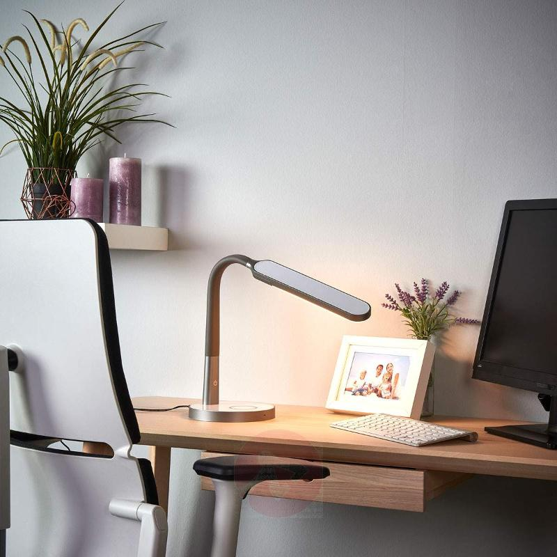 Grey LED desk lamp Maily, USB and dimmer - Desk Lamps