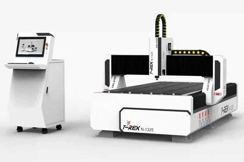 CNC Portalfräse Fräsmaschine Plattenbearbeitung - T-Rex N1325 CNC-STEP Portalfräse mit Zahnstangen, Stahlgestell und Faltenbelägen