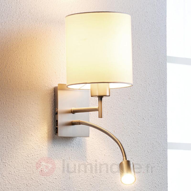 originale applique en textile camilo avec liseuse appliques en tissu luminaire fr allemagne. Black Bedroom Furniture Sets. Home Design Ideas