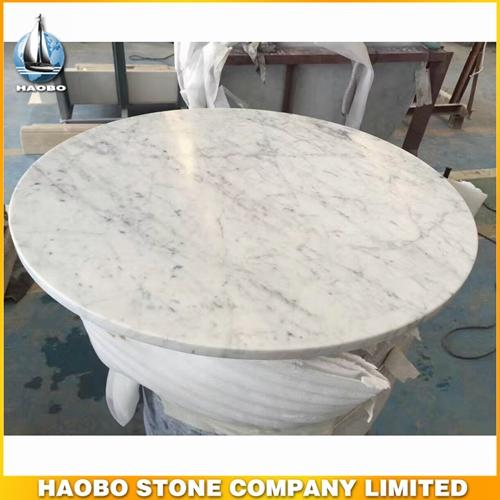 Round Carrara White Marble Stone Kitchen Table Top Designs