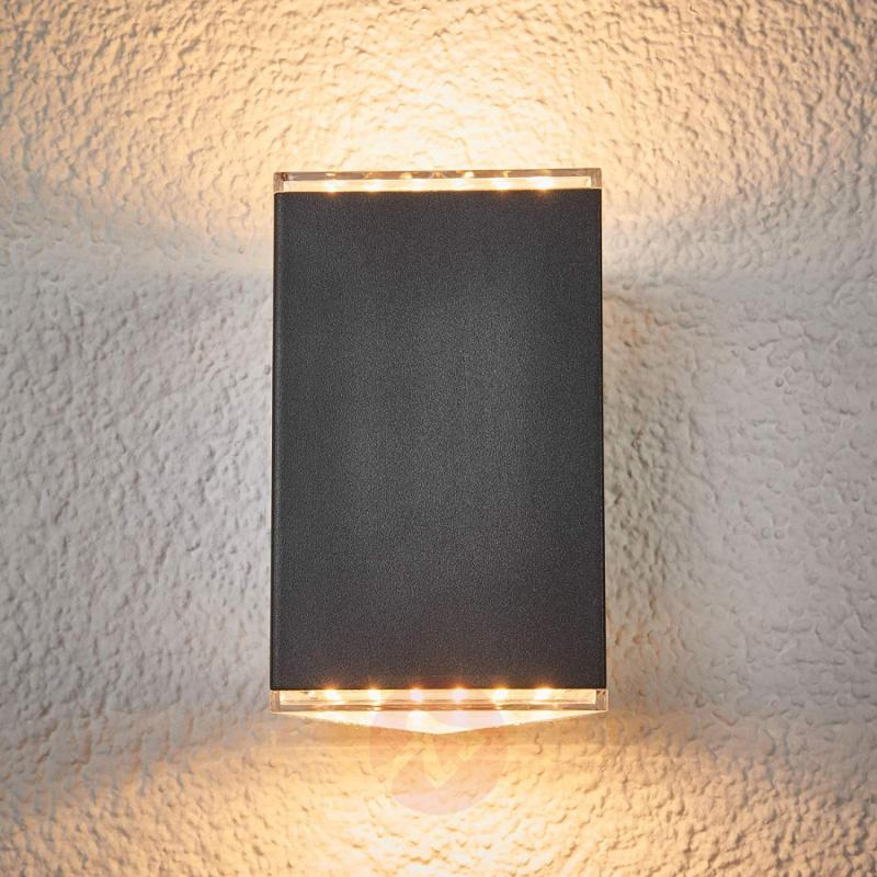 Lydia - LED outdoor wall light, 2-bulb - stainless-steel-outdoor-wall-lights