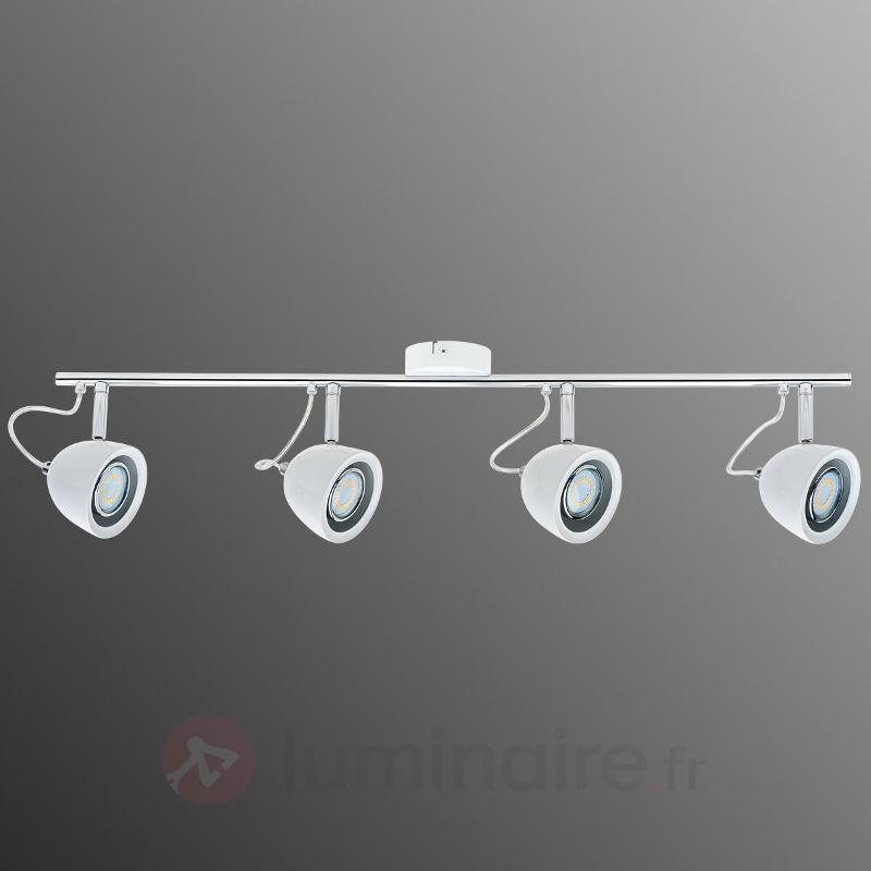 Plafonnier LED Mira à quatre lampes, chrome-blanc - Plafonniers LED