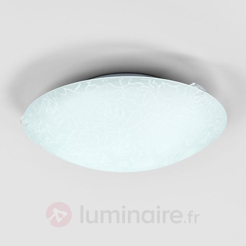 Plafonnier LED en verre Cursa avec motif de roses - Plafonniers en verre