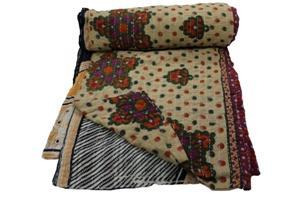 Kantha Gudari Bedspread Handmade Indian Quilt