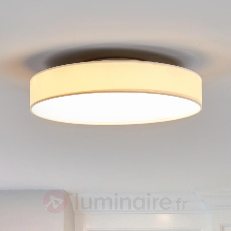 Plafonnier Saira avec abat-jour textile et LED - Plafonniers en tissu