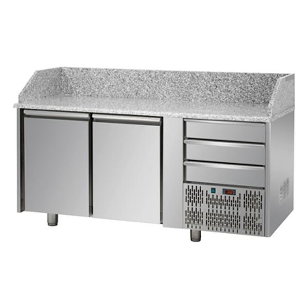 Meubles à Pizzas 2 portes avec 3 tiroirs neutres... - Référence PZ02SYC3