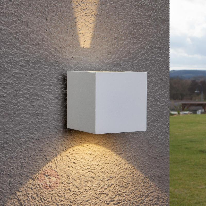 Applique d'extérieur LED Jarno blanche cubique - Appliques d'extérieur LED