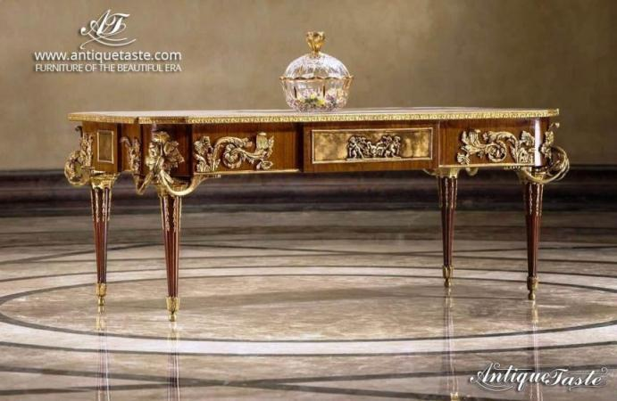 French Louis XVI style Jean-Henri Riesener Coffee Table - marquetry, guilt ormolu mounts