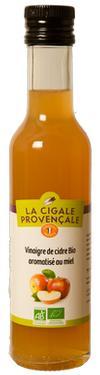 Vinaigre de Cidre Biologique Aromatisé au Miel  - 5 % d'acidité La Cigale Provençale