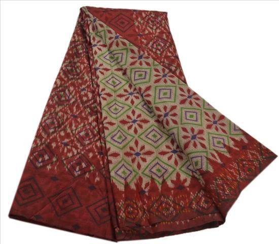 Patola Printed Fabric Pure Silk Sari - Vintage Indian Saree Woven Patola Printed Fabric Pure Silk Sari Craft 5 Yard