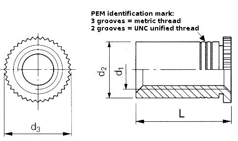 Self-clinching fasteners - PEM® - Self-clinching screwlock standoffs Type DSOS