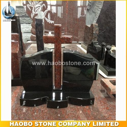 High Polished Black & Red Granite Cross Monument Designs - Russia Monument