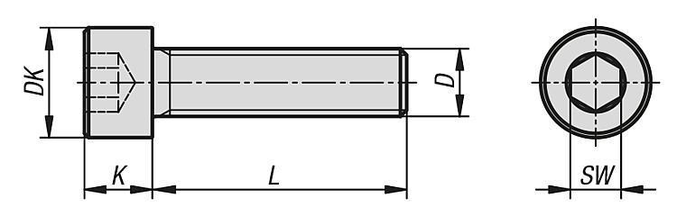 Vis à tête cylindrique à six pans creux filetage... - Éléments de liaison