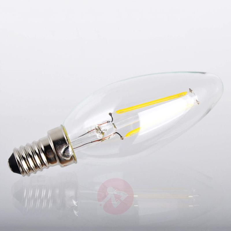 E14 2W 827 LED candle bulb, clear - light-bulbs