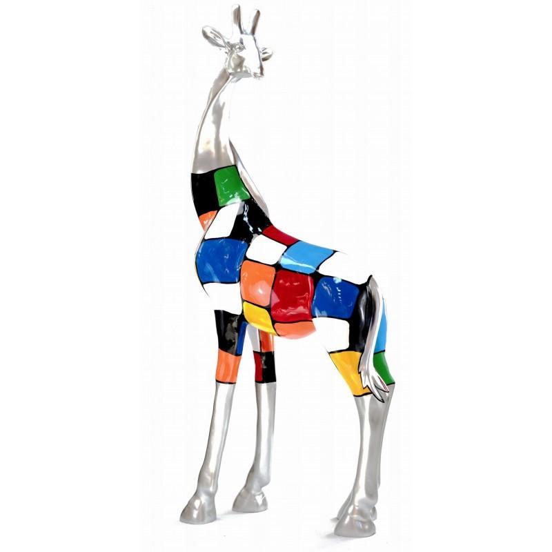 Statue sculpture décorative GIRAFE en résine H162 cm - Très tendance, la statue GIRAFE est sublime par ses couleurs harmonieuses