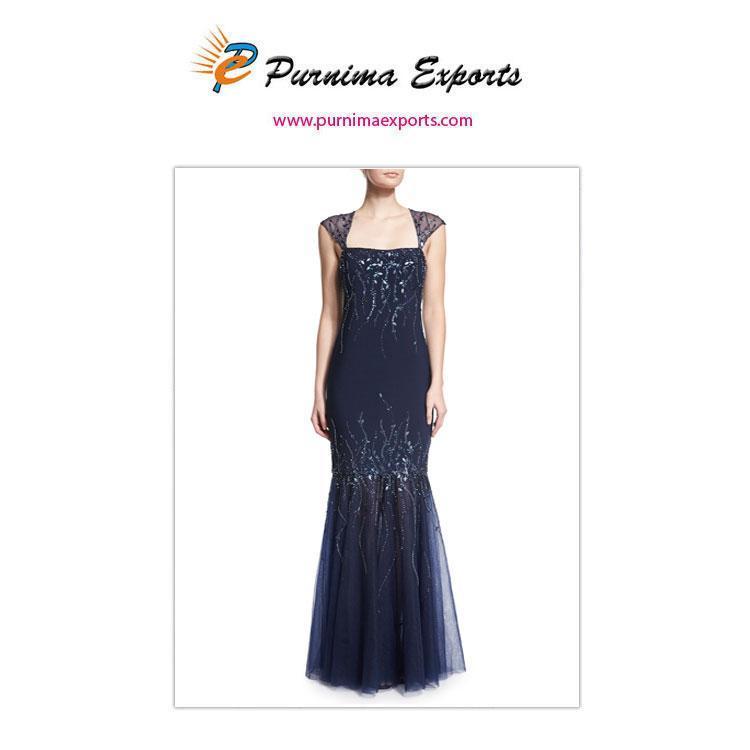 robe de soirée - Robe longue forme sirène brodée à la main
