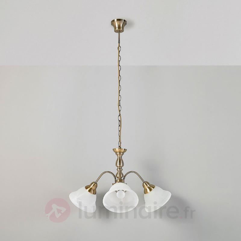 Suspension à trois lampes Hanna laiton ancien - Suspensions classiques, antiques