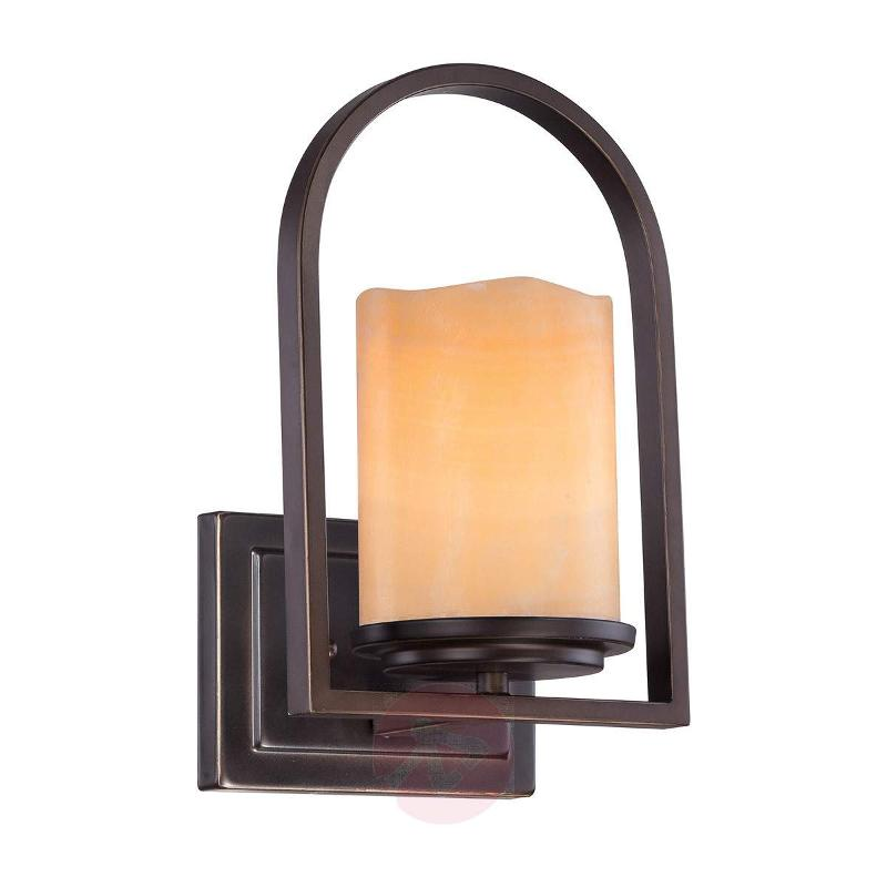 Pretty wall lamp Aldora with onyx lampshade - Wall Lights