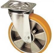 Roulettes pivotantes roues polyuréthane jante aluminium -