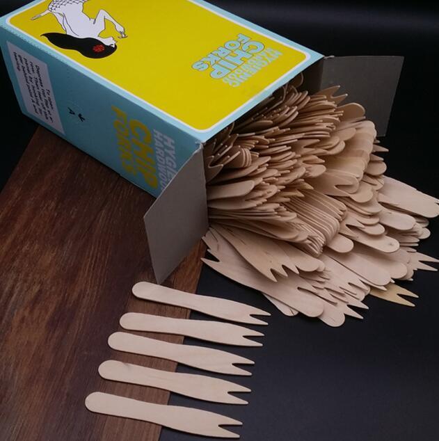 Wooden chip forks - disposable fruit forks