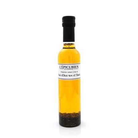 Les Condiments HUILE D'OLIVE ET BASILIC 25CL - Produits oléicoles