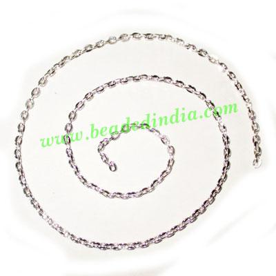 Silver Plated Metal Chain, size: 0.5x2mm, approx 104.2 meter - Silver Plated Metal Chain, size: 0.5x2mm, approx 104.2 meters in a Kg.