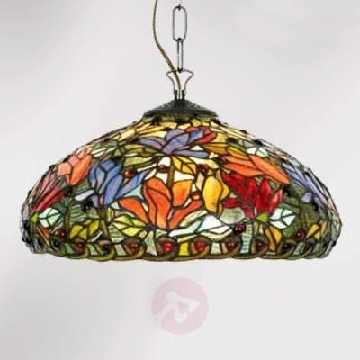 Floral hanging light Elaine, Tiffany-style, 1-bulb - Pendant Lighting
