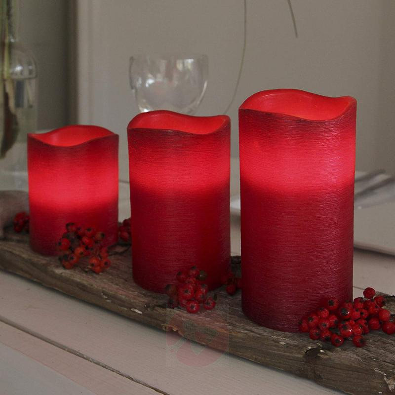 Real waxLED candle Linda structured red 12.5 cm - design-hotel-lighting